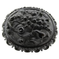 Victorian Mourning Jet Carved Brooch