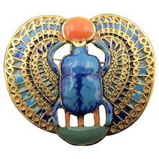 Czech Egyptian Revival Style Enamel Scarab Pendant/Pin