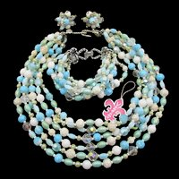 Vintage Signed Vendome Six Strand Blue and White Beaded Necklace, Bracelet and Earring Parure