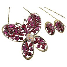 Vintage Signed Alice Caviness Butterfly Pin/Pendant Necklace and Earrings