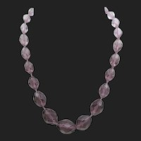 Vintage Czech Art Deco Amethyst Glass Necklace
