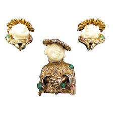 Vintage Signed HAR Asian Man Brooch and Earrings