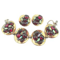 Signed Schiaparelli Ruby Red Cabochon Round Disc Bracelet and Earrings