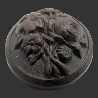 Victorian Carved Floral Bog Oak Mourning Brooch