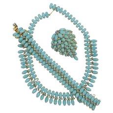 Signed Kramer Turquoise Navette Rhinestone Necklace, Bracelet and Brooch Set