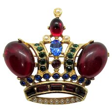 Vintage Butler and Wilson England Jeweled Crown Cabochon Brooch