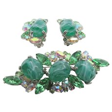 Vintage Schauer Fifth Ave. Flawed Emerald Rhinestone Brooch and Earring Set