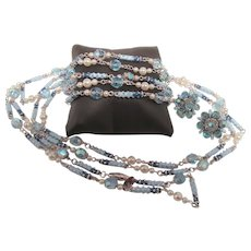 Vintage Signed Vendome Blue and Faux Pearl Beaded Necklace, Bracelet and Earring Parure