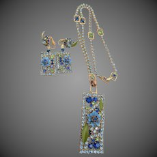 Vintage Alice Caviness Rhinestone and Enamel Necklace and Earrings