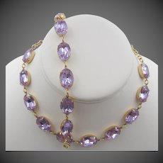 "Vintage ""Alexandrite"" Rhinestone Necklace and Bracelet Set"