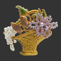 Vintage Gold Plated Seed Pearl and Enamel Floral Basket Brooch