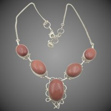 Sterling Silver Goldstone Cabochon Drop Necklace