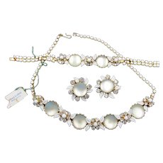 Weiss Moonstone, Milk Glass and Enamel Necklace, Bracelet and Earring Parure Set