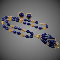 Trifari Royal Blue Suspended Animation Textured Gold Tassel Necklace and Earring Set