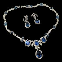 Kramer of New York Crystal and Sapphire Blue Rhinestone Rhodium Plated Necklace and Earrings