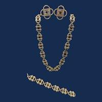 Vintage Monet Black and Crystal Baguette Rhinestone Necklace, Bracelet and Earring Parure