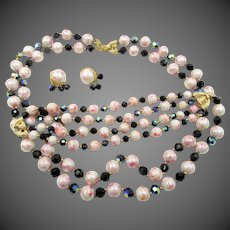 Crown Trifari Mottled Pink Faux Pearl Crystal Necklace, Bracelet and Earring Parure