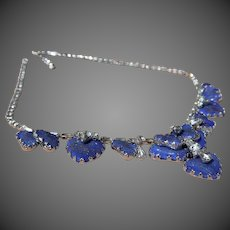 Hobe Blue Mayorka Petal Glass Rhinestone Necklace