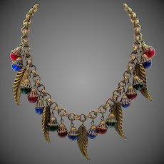 Miriam Haskell 1950s Art Glass Bead and gilt Leaves Necklace - Frank Hess