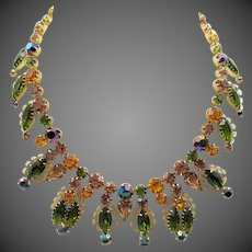 Gorgeous Kramer Citrine, Olivine and Rhinestone Filigree Necklace