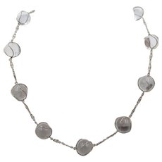 Art Deco Rock Crystal Pools of Light Sterling Silver Necklace