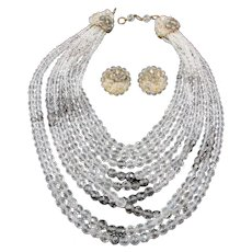 Coppola e Toppo Nine Strand Crystal Smokey Necklace and Earring Set