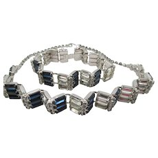 Gorgeous Weiss Sapphire Blue and Crystal Baguette Necklace and Bracelet Set