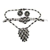 Vintage Kramer of New York Black and Crystal Rhinestone Necklace, Bracelet and Earrings