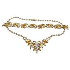 Crown Trifari Alfred Philippe 1953 Skylark Honey Amber Rhinestone Necklace and Bracelet Set