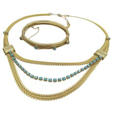 Vintage Gold Tone Mesh Turquoise Rhinestone Drape Necklace and Bangle Bracelet Set