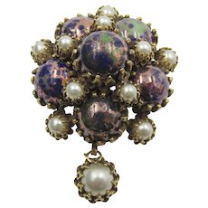 Christian Dior Art Glass and Faux Pearl Drop Brooch