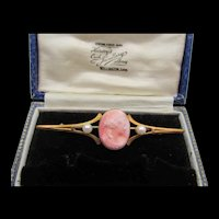 Victorian Rose Gold Plated Coral Glass Cameo Faux Pearl Bar Pin