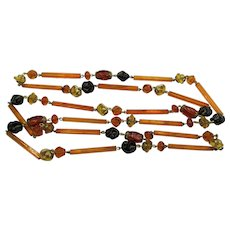 "Czech Art Deco Amber, Black and Gold Lampwork Glass Beaded 50"" Necklace"