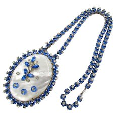 Signed Vogue Jewelry Sapphire Blue Rhinestone Necklace and MOP Pendant/Pin