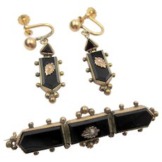 Victorian Gold Filled Black Onyx and Seed Pearl Bar Pin and Earring Set
