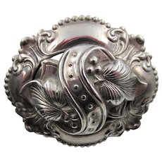 Antique Sterling Baroque Inspired Repousse  Large Oval Brooch