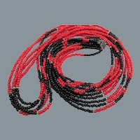 Vintage Five Strand 50 Inch Black, Red and Rhondelle Glass Beaded Necklace