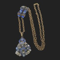 Miriam Haskell Blue beaded Cluster Russian Gold Plated Pendant Necklace