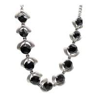 Signed Schiaparelli Silver-Tone Black Faceted  Glass Necklace