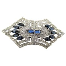 Gorgeous Coro Duette Sapphire Navette and Crystal Rhinestone Brooch