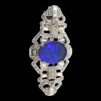 Vintage Sapphire Blue and Crystal Rhinestone Dress Clip