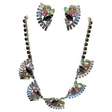 Gorgeous Vintage Fan Shaped Pastel Rhinestone Necklace and Earrings