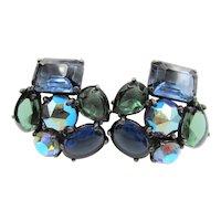 Signed Schiaparelli Blue Green Cabochon Glass Earrings