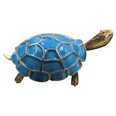 Small 800 Silver Gold Plated Champleve Enamel Turtle Brooch/Pin
