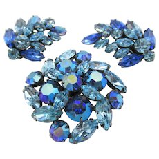 Regency Royal and Light Blue  Rhinestone Brooch and Climber Clip Earring Set
