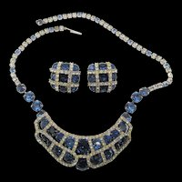 Kramer of New York Sapphire Blue Rhinestone  Necklace and Earrings
