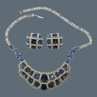 Kramer of New York Sapphire Blue Rhinestone  Necklace and Earrings