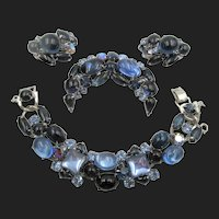 Weiss Blues Cabochon Rhinestone Bracelet, Brooch and Earring Set