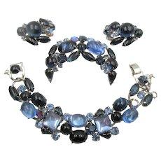 Weiss Blues Cabochon Rhinestone Bracelet, Brooch and Earring Set