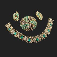 Crown Trifari Cavalcade Emerald Green and Black Channel Set Rhinestone Bracelet, Brooch and Earrings